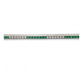Emerald Diamond and Platinum Line Bracelet, 6.13 carat total