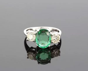 Vintage Emerald and Diamond Three-Stone Ring, 3.80cts, 18ct White Gold