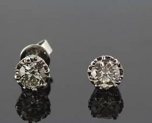 1.51ct Diamond and 18ct White Gold Solitaire Stud Earrings