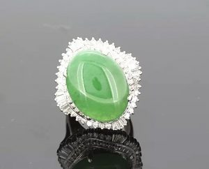 Jade and Diamond Cluster Cocktail Dress Ring, 16.87 carat total
