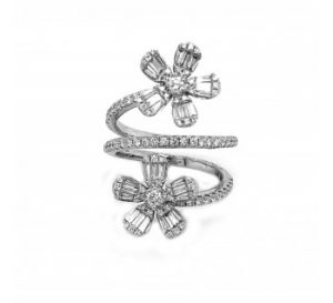 Modern Diamond and White Gold Flower Twist Ring, 1.19 carat total
