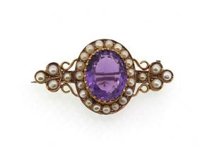 Antique Victorian Amethyst and Pearl Cluster Brooch