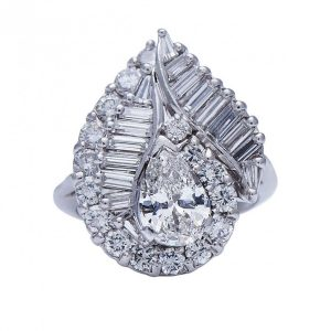 Vintage 1960's Diamond and Platinum Cluster Dress Ring, 3.20 carats