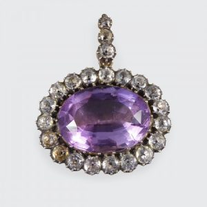 Antique Early Victorian Amethyst and White Paste Oval Pendant