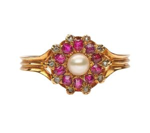 Antique Edwardian Pearl, Ruby and Diamond Cluster Ring, 18ct Gold