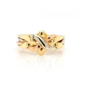 Vintage Puzzle Ring in 9ct Yellow, Rose and White Gold