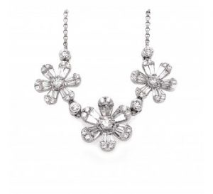 Modern Three-Flower Diamond and White Gold Necklace, 1.44 carat total