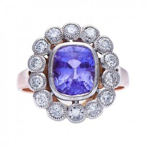 Natural 3.40ct 'Colour Change' Sapphire and Diamond Cluster Ring