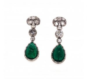 Cabochon-Cut Emerald and Old-Cut Diamond Drop Earrings, 15.50ct total