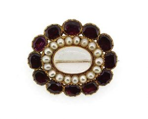 Antique Victorian Garnet and Pearl Memorial Locket Brooch