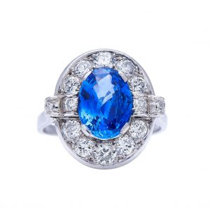 Vintage Ceylon Sapphire and Diamond Oval Cluster Ring, 3.89 carat total