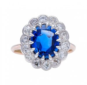 Vintage 2ct Burma Sapphire and Diamond Cluster Ring, Certified