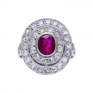 Natural Burmese Ruby and Diamond Oval Cluster Ring, 2.40cts, Certified