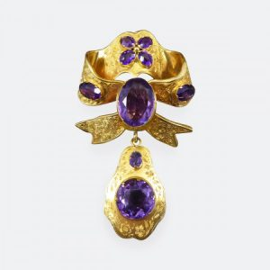 Antique Victorian Amethyst and 15ct Yellow Gold Bow Brooch with Drop