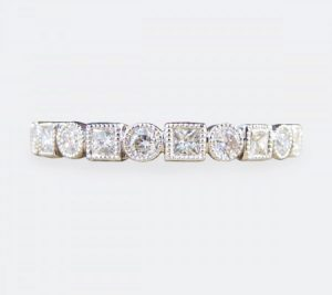 Brilliant and Princess-Cut Full Eternity Diamond Ring, 0.80 carat total