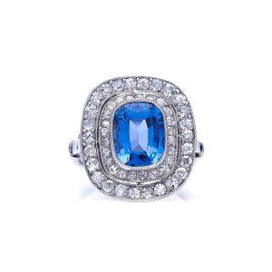 Antique Edwardian Cornflower Ceylon Sapphire and Diamond Cluster Ring