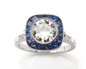 Art Deco Style Sapphire and Diamond Target Calibre Cut Ring