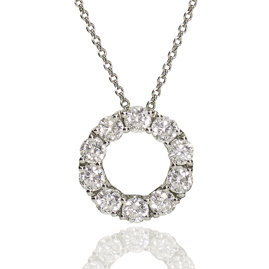 Diamond Set Circle 18ct White Gold Pendant Necklace