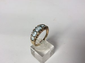 Vintage Aquamarine and Diamond Five Stone Ring, c.1980