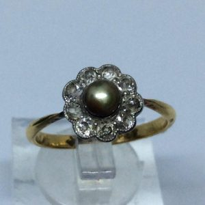 Antique Brown Pearl and Old Cut Diamond Cluster Ring