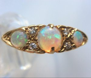 Antique Art Deco Opal and Diamond Three Stone Ring in 18ct Yellow Gold