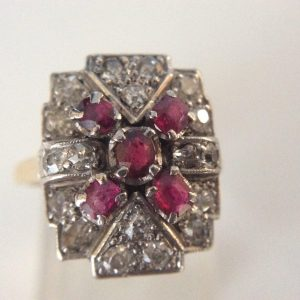 Antique Art Deco Ruby and Diamond Plaque Ring, 18ct Gold, c.1920