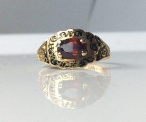 Antique 19th Century Garnet Set Enamel and Gold Mourning Ring