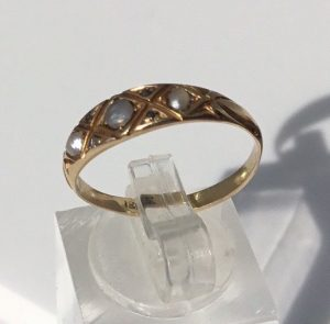 Antique Edwardian Pearl and Rose Cut Diamond Ring, 18ct Yellow Gold