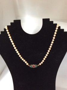Antique Art Deco Pearl Necklace with Ruby, Turquoise and Pearl Clasp