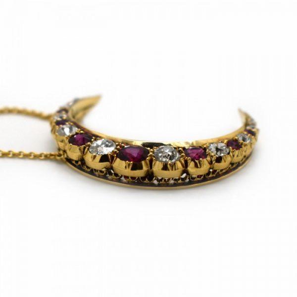 Antique Victorian Ruby Diamond and Gold Crescent Pendant, Circa 1880