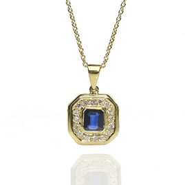 Octagonal Sapphire & Diamond 18ct Gold Pendant and Chain