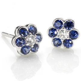 Sapphire Diamond Floral Cluster Earrings