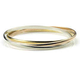 Three Colour Gold Heavy Russian Bangle Bracelet
