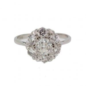 Vintage Old Cushion Cut Diamond Cluster Ring, 1.70 carats