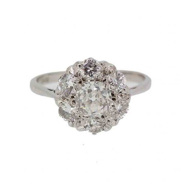 Vintage diamond cluster ring old cut .png