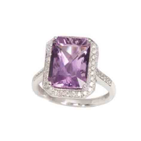 Purple Amethyst and Diamond Rectangular Dress Cluster Ring