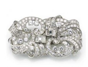 Antique Art Deco Diamond Double Clip Brooch, 12 carats