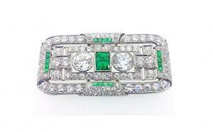 Art Deco 3.00ct Diamond, Emerald and Platinum Brooch