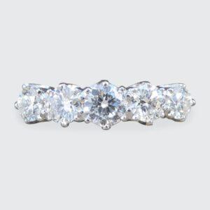 1.30ct Diamond Five Stone Platinum Ring