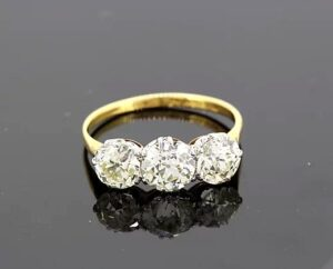2.50ct Diamond and 18ct Yellow Gold Three Stone Ring