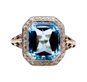 Art Deco Style 3.50ct Aquamarine Dress Ring in 14ct Gold