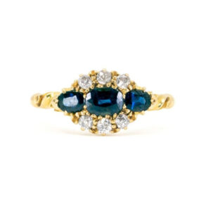 Antique Victorian Sapphire and Old Cut Diamond Ring, 1.18 carats