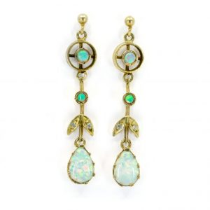 Vintage Opal, Old Cut Diamond and Gold Drop Earrings