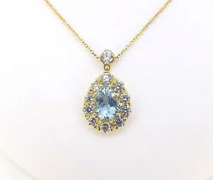 Aquamarine and Diamond Pear Shaped Cluster Pendant, 2.85 carat total