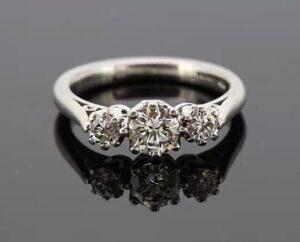 Diamond Three Stone Ring, 0.75 carats, in Platinum