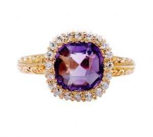 Antique Victorian Cushion Cut 2.00ct Amethyst and Diamond Cluster Ring