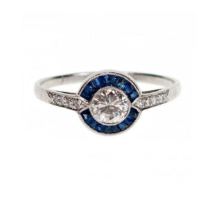 Vintage Sapphire, Diamond and Platinum Cluster Ring, 1.00 carat total