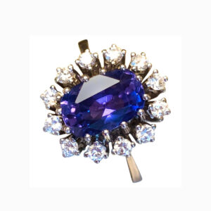 Natural 3.50ct Ceylon Colour Change Sapphire and Diamond Cluster Ring
