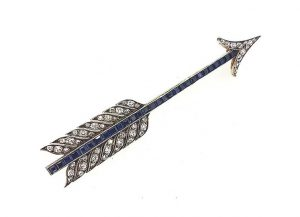 Vintage Sapphire and Diamond Set Arrow Brooch