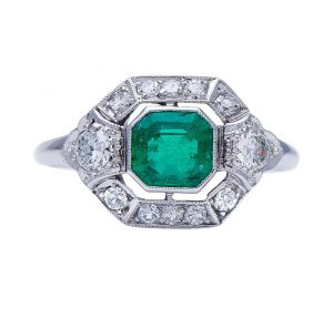Art Deco Emerald Cut Colombian Emerald and Diamond Cluster Ring